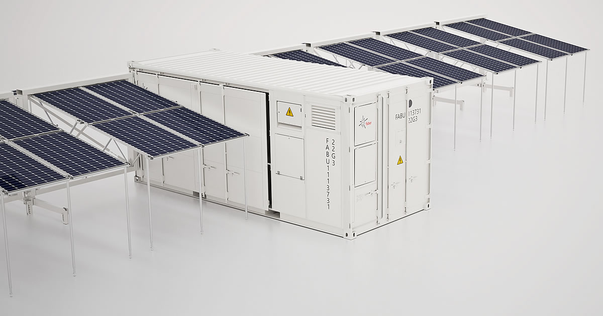 solar panels power storage container
